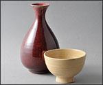 しんしゃゆう花瓶と茶碗の写真