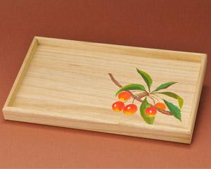 さくらんぼが描かれた桐長盆の写真