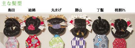 主な髪型(左から)島田・結綿・丸まげ・勝山・丁髷・桃割れ