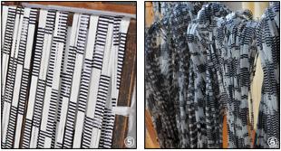 染め上がった糸を乾燥させる作業の写真