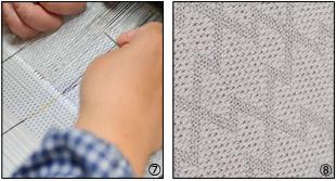 織りの作業と織り目の拡大写真