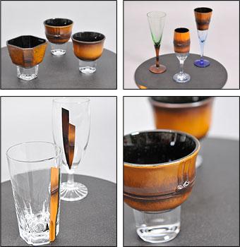 竹塗りグラスの写真